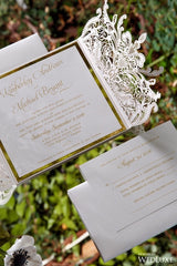 Elegant Gold and White Gatefold Laser Cut Wedding Invitation #5102