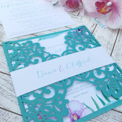 Tropical Destination Laser Cut Wedding Invitation with Belly Band #157857