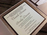 Glitter Pocketfold Wedding Invitation #0140