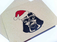 Package of 5 Darth Vader Seasons Greetings Christmas Cards on Kraft Cardstock 0456