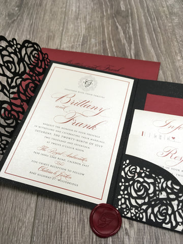 Laser Cut Pocketfold Wedding Invitation #85747