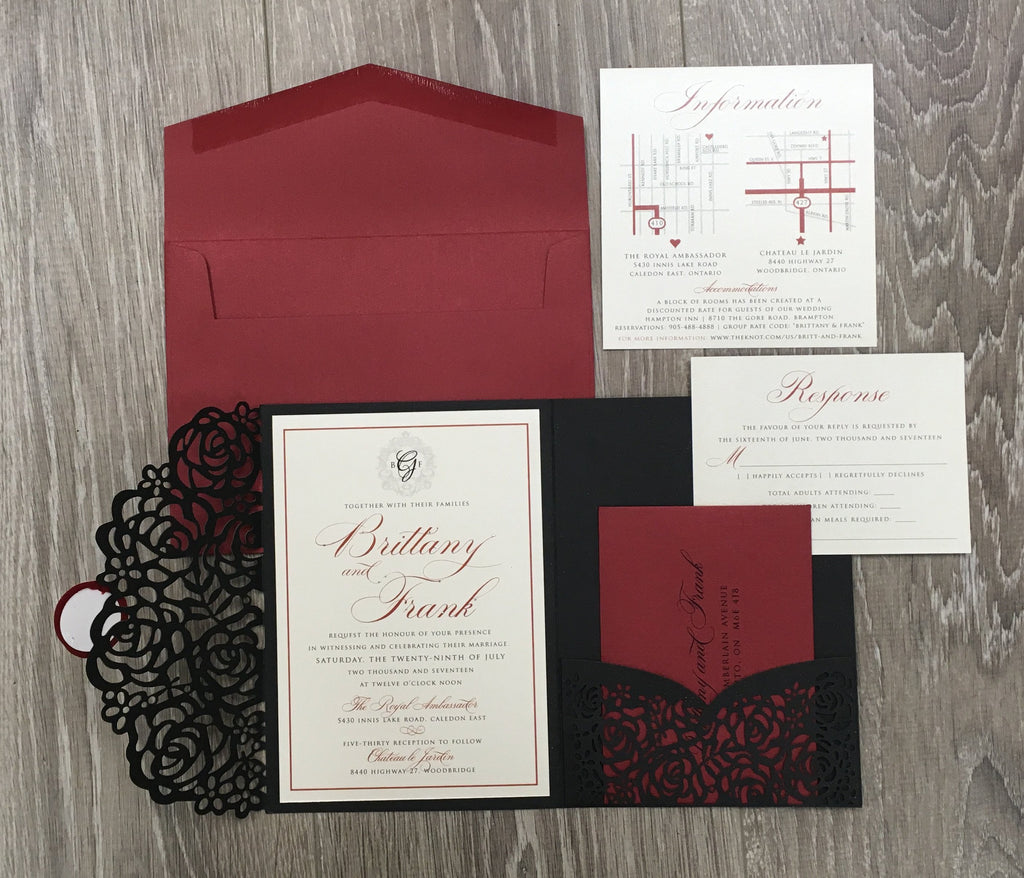 Laser Cut Pocketfold Wedding Invitation #85747 – The Polka Dot Paper ...