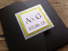 Glitter Pocketfold Wedding Invitation #0139