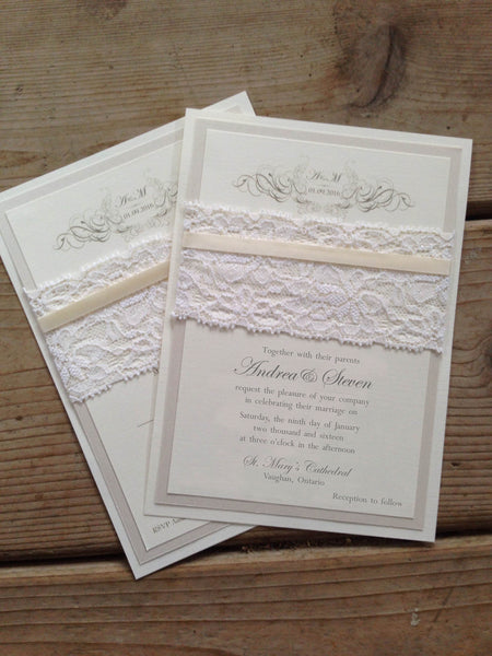 Fully Customizable Lace and Satin Ribbon Flat Card or Pocket Card 0150