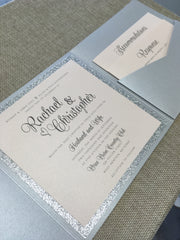 Modern Typography Glitter Pocketfold Wedding Invitation #70517