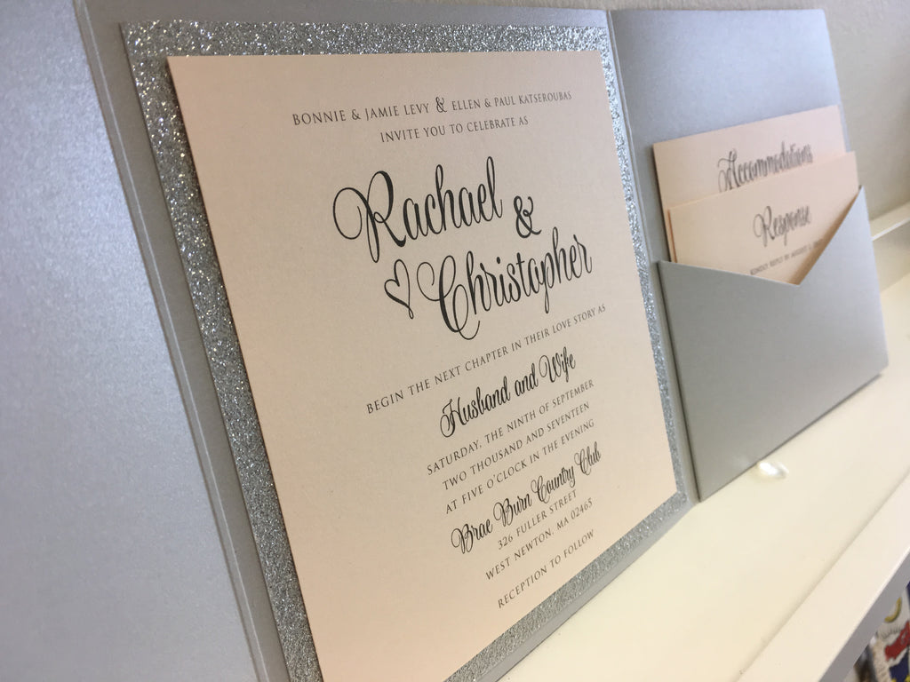 Modern Typography Glitter Pocketfold Wedding Invitation #70517 – The ...