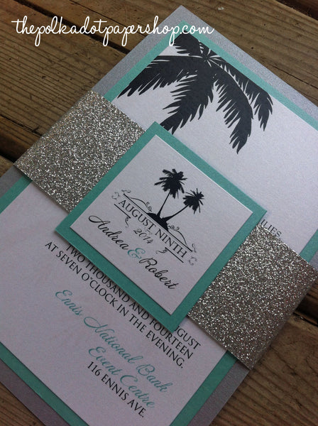 Destination Palm Tree Glitter Belly Band Wedding Invitation or Flat Card 0164