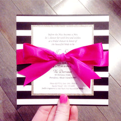 Glitter Black and White Striped Bridal Shower or Wedding invitation Flat Card 2668
