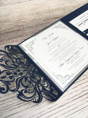 Laser Cut Pocketfold Wedding Invitation #85746