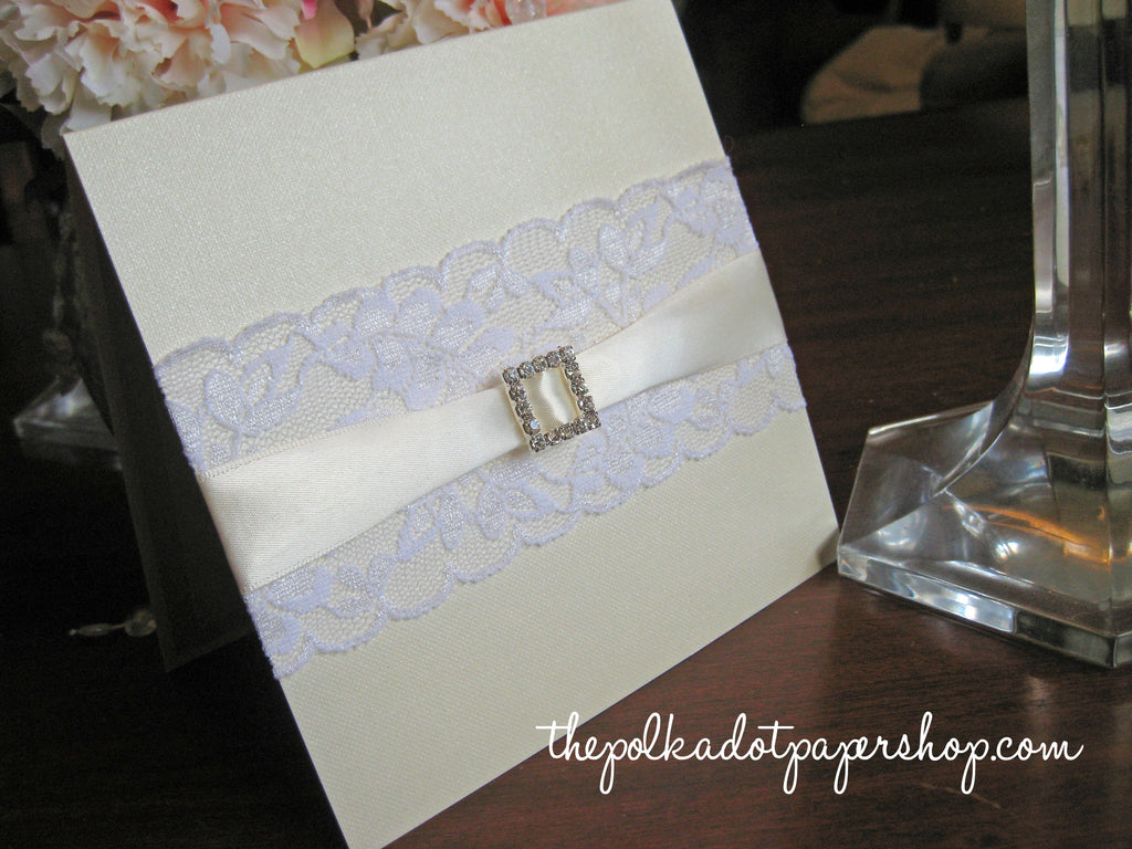 Lace Buckle Wedding Invitation 0514 – The Polka Dot Paper Shop