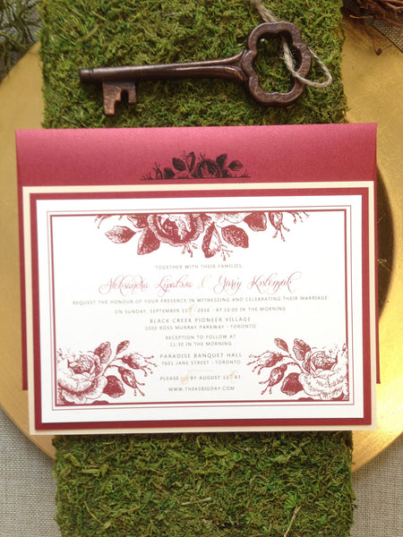 Sweet Garden Roses Wedding Invitation 0385