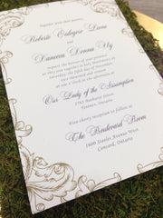 Elegant Plum and Gold Wedding Printed Invitation