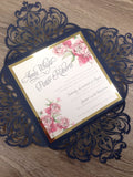 Shimmering Lotus Fold Flower Laser Cut Wedding Invitation 0985