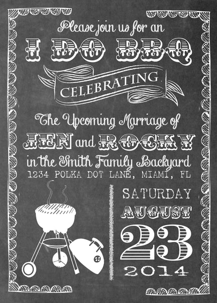 Chalkboard Bbq Party Printed Invitation 0224 The Polka