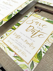 Jungle Leaves Save the Date Card  -  Colour Customizable! 0498
