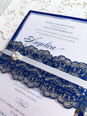 Navy and Foil Wedding Invitation with Laser Cut Belly Band and Rhinestone Button#34468