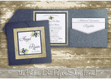 Glitter Pocketfold Wedding Invitation #0516