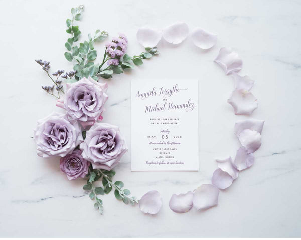 NEW 2019! Lavender Wreath Simple Elegance Wedding, Bridal Shower or Party Printed Invitation Suite 54750