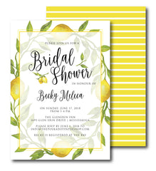 Lemon Watercolor Bridal Shower or Party Invitation 57236