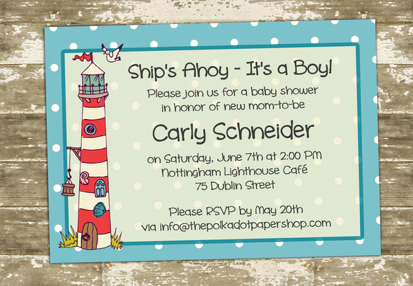 Ships Ahoy! It's a Boy! Cute Nautical Baby Shower or Birthday 0423