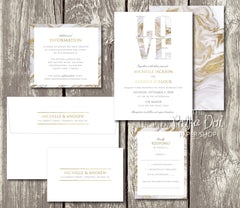 NEW 2018 - For the Love of Marble - Printed Wedding Invitation 10235