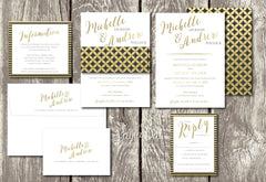 NEW 2018 - Mod Circles and Stripes Belly Band Printed Wedding Invitation 10243