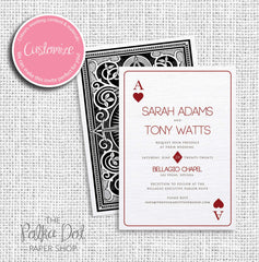 Modern Ace of Hearts Playing Card Wedding Invitation 03312