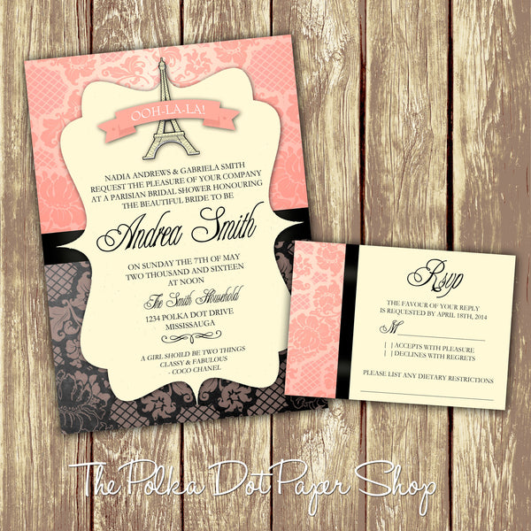 Parisian Bridal Shower or Party Invitation 0272