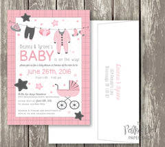 Clothesline Cute Baby Shower Invitations - pink, purple, turquoise and yellow available 0407