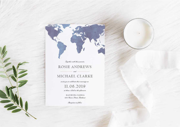 Denim Watercolor World Map Wedding Invitation 40547