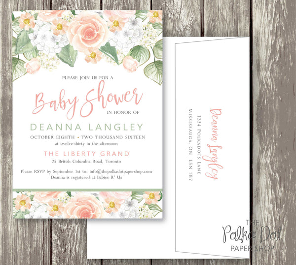 Peachy Roses Watercolor Baby Shower or Bridal Shower Invitation 0523