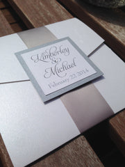 Pebble Paper Pocketfold Invitation with Satin Ribbon Band #0114