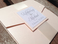 Pebble Paper Pocketfold Invitation with Satin Ribbon Band #0113