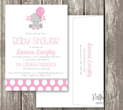 Polka Dot Elephant Baby Shower Invitation in Pink, Blue or Turquoise / Baby Girl / Baby Boy / Gender Neutral 0411