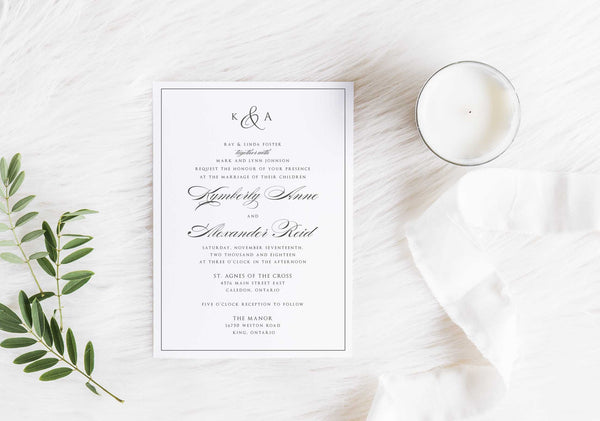 NEW 2019! Modern Monogram Wedding Invitation 54747