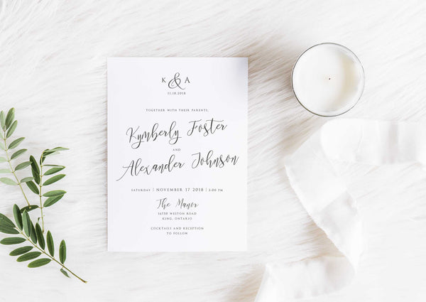 NEW 2019! Modern Calligraphy Wedding Invitation 54748