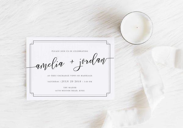 NEW 2019! Modern Calligraphy Slanted Wedding Invitation 54752