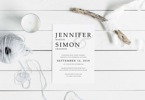 NEW 2019! Simple Elegance Wedding, Bridal Shower or Party Printed Invitation Suite 54754