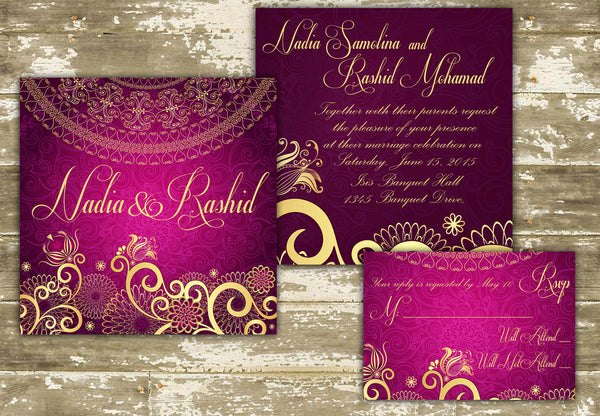 Sari Indian Wedding Invitation 0240 – The Polka Dot Paper Shop
