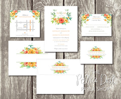 NEW 2018 - Sunshine Florals Bouquet - Floral Printed Wedding Invitation 10240