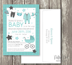 Clothesline Cute Baby Shower Invitations - pink, purple, turquoise and yellow available 0406