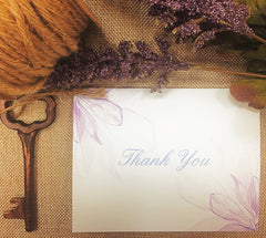 Pack of 10 Purple Watercolour Magnolia Floral Thank you Cards with Envelopes 0343