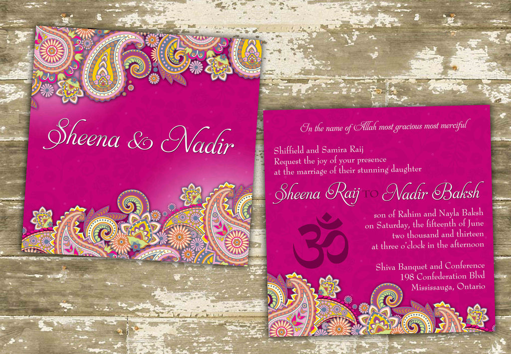 Vibrant Paisley South Asian Inspired Wedding Invitation 0241 – The ...