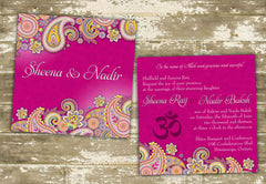 Vibrant Paisley South Asian Inspired Wedding Invitation 0241