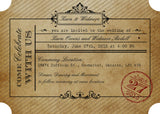 Vintage Ticket Inspired Printed Invitation (Quirky Collection) 0199