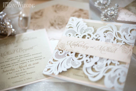 Laser Cut Wedding Invitation with Custom  Belly Band and Envelope Liner 0105