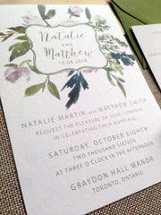 Cotton Cardstock Watercolour Floral Design Printed Flat Card Wedding Invitation Suite 197