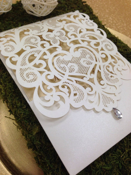 Gold and White Laser Cut Elegant Monogram Wedding Invitation #0107
