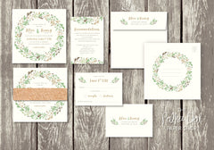 NEW 2018 Autumn/Fall Wreath Wedding Invitation 6984