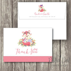 Pack of 10 Pink Baby Fox and Mommy Fox Polka Dot Thank You Cards with Envelopes 0342